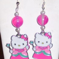 Hello Kitty  Hand Made Fairy Dangle Earrings