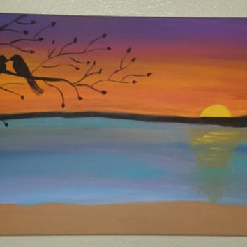 "Hand painted wood framed canvas 12""x24"" - Sunset on the water"