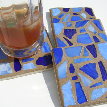 Blue Glass Mosaic Coasters  Beach Glass Coaster  Coastal Living  Beach Decor  Hostess Gift  Beach House Blue Decor Coastal Decor Unisex Gift