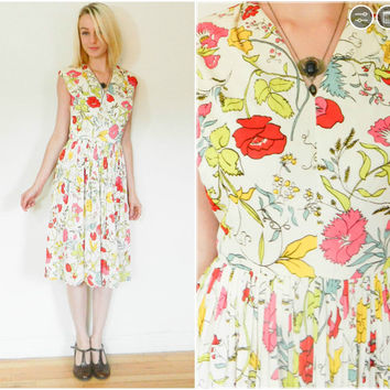 60s vintage day dress / floral 1960s tea dress / floral David Crystal sleeveless sun dress a lined pleated skirt mid century mod rockabilly
