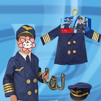 ONETOW Boys Steward Uniform Police Cosplay Clothes For Children Halloween Stage Performance Costume