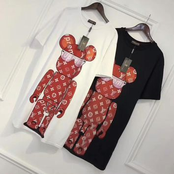 """Louis Vutitton × Supreme"" Women Loose Casual Fashion Hot Fix Rhinestone Robot Bear Pattern Short Sleeve T-shirt Dress"