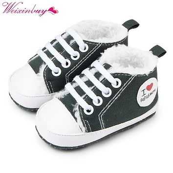 Winter warm soft bottom love plus cashmere baby shoes 0-1Y Baby boy girl sneaker casual T-tied First walker school shoes