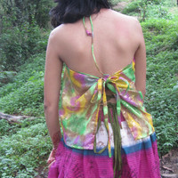 Gypsy boho Top Halter Top back less top music festival top burning man cloths