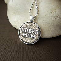Cheer Mom Necklace, Cheerleading Necklace, Cheer Mom Pendant, Cheer Team Pride - Choose Your Team Color!