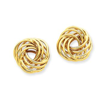 16mm Polished Love Knot Earrings in 14k Yellow Gold