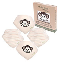 Baby Bandana Bibs with Snaps for Girl or Boy- Pack of 4 Natural Organic Cotton Drool Bibs in Unisex Baby Shower Gift Set - Stylish Handkerchief Baby Bandanas in Eco Friendly Box by Monkey Around Baby