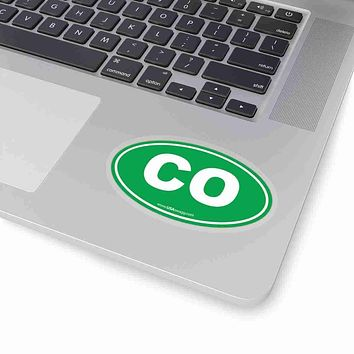 Colorado CO Euro Oval Sticker GREEN SOLID