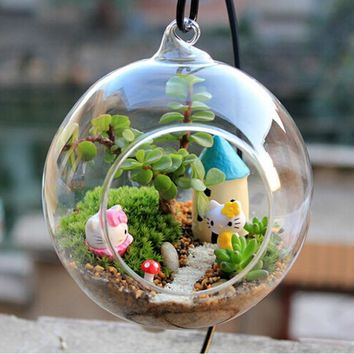 Creative Clear Glass Terrarium Ball Globe Shape Hanging Vase Flower Air Plants Container Landscape DIY Wedding Home Decor