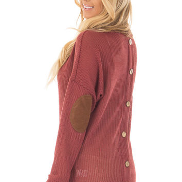 Brick Sweater with Suede Elbow Patches and Button Back