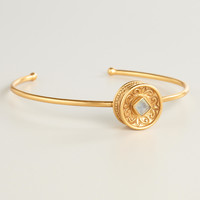 Gold Disc and Stone Bracelet - World Market
