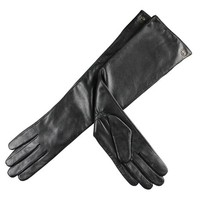 ELMA Lady's Elbow Long Nappa Leather Driving Gloves Super Warm Long Fleece Lined (M, Black)