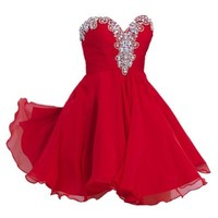 VILAVI Womens A-line Short Chiffon Rhinestone Homecoming Dresses 6 Red