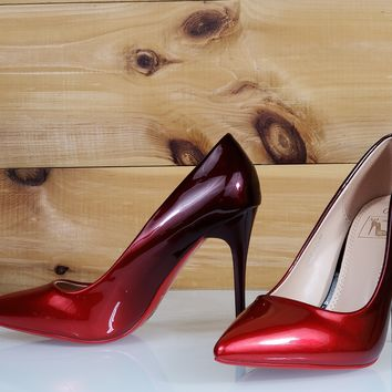 "In Demand Red Patent Ombre Blend Pointy Toe Pump Shoe 4.5"" Stiletto High Heels"