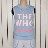 Sporty THE WHO Print Sleeveless Hooded Tank Top Hot Shorts Set 2 Colors