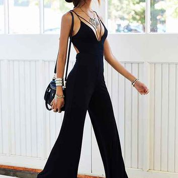 Silence + Noise Vanya Deep-V Wide-Leg Jumpsuit- Black