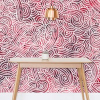 'Red and white swirls doodles' Wallpaper by Savousepate on miPic