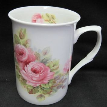 Pink China Roses English Bone China Mugs Set of 6