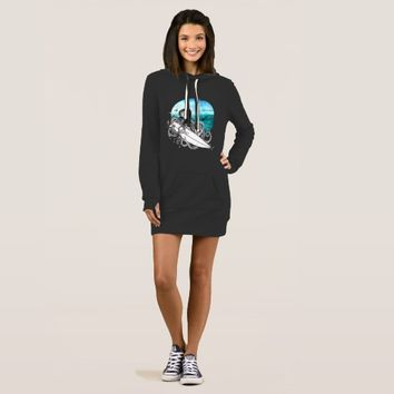 Surf Octopus Summer Ocean, Women's Hoodie Dress