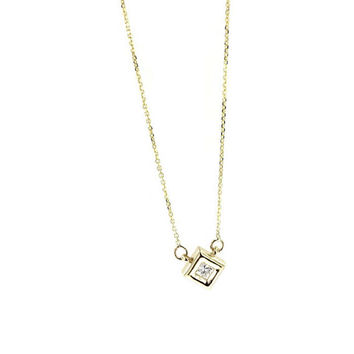 Princess Cut Diamond Pendant, Necklace 14K Yellow Gold