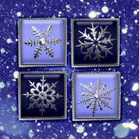 Christmas Silver snowflakes square images 1x1, 1.5x1.5 for Scrapbooking, Pendants Digital Collage Sheet