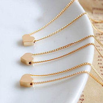 Small Cute Love Heart Chocker Necklaces Rose Gold Silver Plated Link Chain Cheap Necklace For Women Girls Gift Jewelry Collier