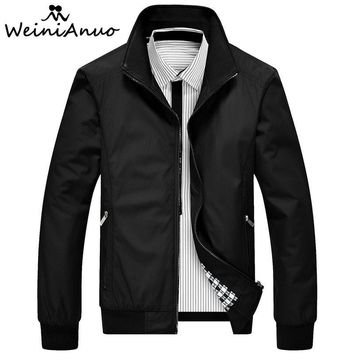 Trendy WEINIANUO 2018 Jackets Men Standing Collar Zipper Fashion Jacket Male Baseball Bomber Jackets Men High Quality Jacket Coats  441 AT_94_13