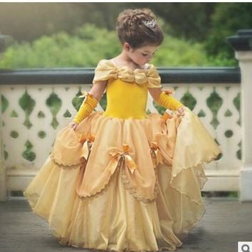Beauty And The Beast Dress For Girl Belle Costume Child Deguisement Elza Carnaval Christmas Kid Sling Bridesmaid Prom