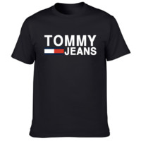 Tommy New fashion bust letter stripe print couple top t-shirt Black