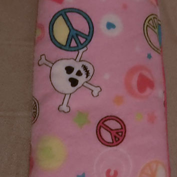 Pink With Peace Signs Hearts and Skulls Eyeglass Case