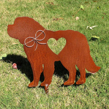 Saint Bernard - St Bernard - Dog Metal Garden Stake - Metal Yard Art - Metal Garden Art - Pet Memorial