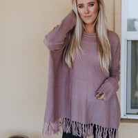 Shake It Fringe Trim Sweater - Purple
