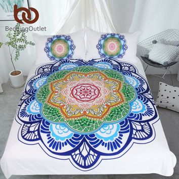 BeddingOutlet Mandala Bedding Set King Size Bohemian Bed Set for Adults Boho Flower Print Duvet Cover Colorful Home Textiles