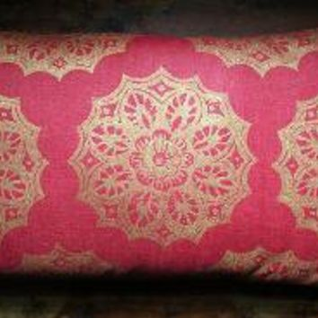 Red and Gold Lace Medallion Extra Long Lumbar Pillow by giardino