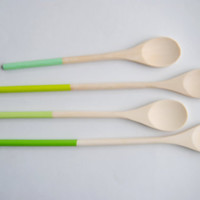 Pea Shoot Collection - Shades of Green Set of 4 Dipped Wooden Kitchen Cooking Spoons
