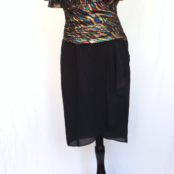 Vintage Retro 70s 80s Black Metallic Striped Dress Avant Garde Size 10 Medium Glam Disco Diva Punk Rocker Prom Lizzy & Johnny 1940s Style