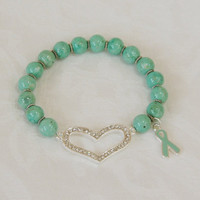 Pale Teal Ovarian Cancer Awareness Rhinestone Heart Bangle Bracelet C104