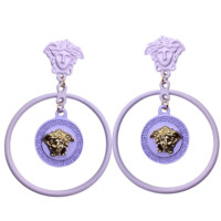 Versace New fashion personality round long earrings women Purple