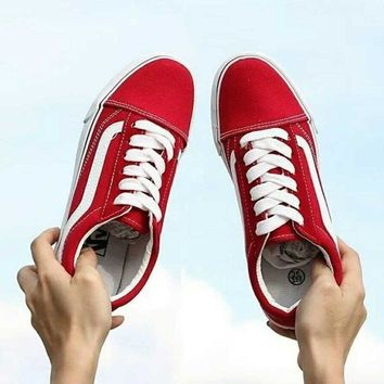 Vans Casual Shoes Men and Lady classic black cloth shoes Red