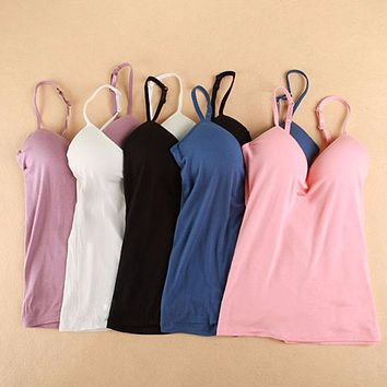 Adjustable Strap Built In Bra Padded Bra Modal Tank Top Camisole Cami
