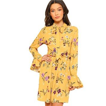 Women Spring Dresses Casual Tie Neck Elastic Waist Floral Dress Ruffle Long Sleeve