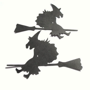 15 Large Flying Hags. Black Witch Die Cuts. Halloween Decoration Scrapbooking Card Making Die Cut Party Event Embellishments
