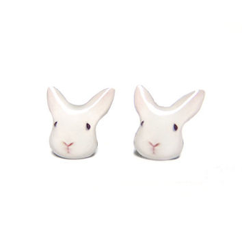 Cute White Bunny Rabbit Stud Earrings - A025ER-E01 Made to Order