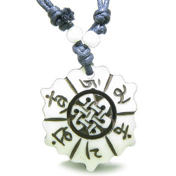 Amulet Mantra Om Mani Padme Hum Lotus Celtic Shield Knot  Pendant Necklace