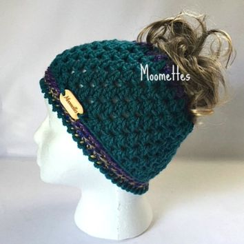 Handmade Messy Bun Beanie Purple Teal Ponytail Hat Wood Button Crochet Top Knot Runner