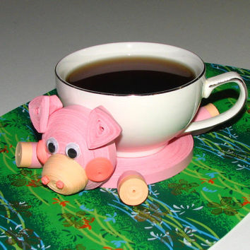 Coasters for drinks Pink Little piggy Stand for the cup Cup Stands Cup pad Kitchen's decoration Stand cup Cup coaster Quilling art