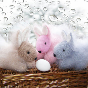Cute Fluffy Rabbits - Hand Knitted Bunnies - Easter rabbit- Stuffed Animal Baby Toy - Knitted Home Decoration - Set of 3 Rabbits