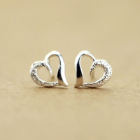 Cute Semi-frosted 925 Sterling Silver Heart Earrings