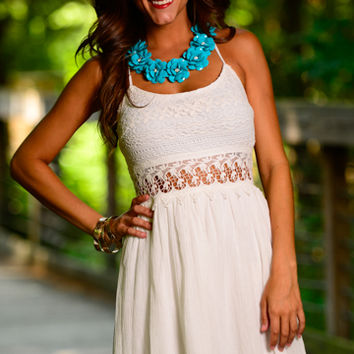 Lace Out Dress, White