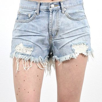 Frayed + Lace Underlay Denim Cutoff Shorts {L. Wash}